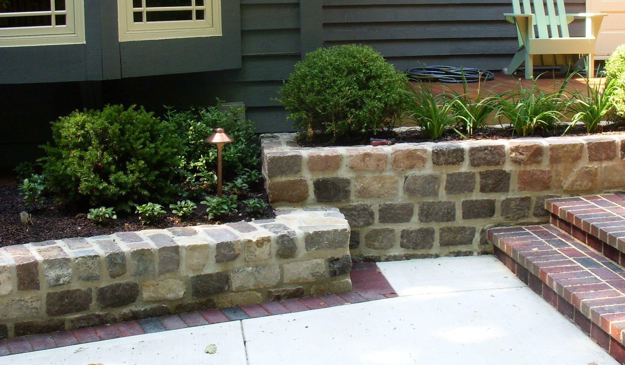 Mortared Granite Cobblestone Retaining Wall Landscape Walls Landscape Design Patio Garden