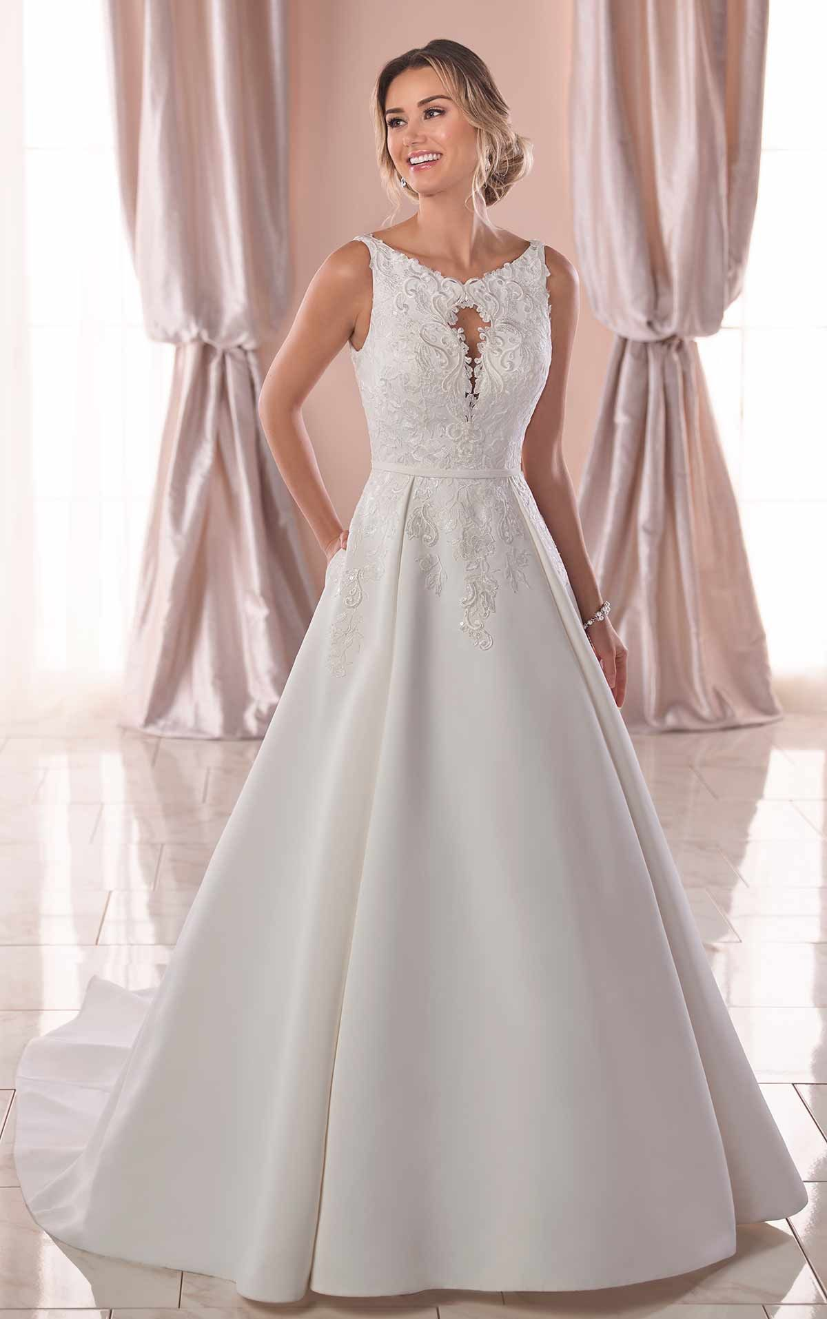 Simple Ballgown with PeekaBoo Neckline Stella York