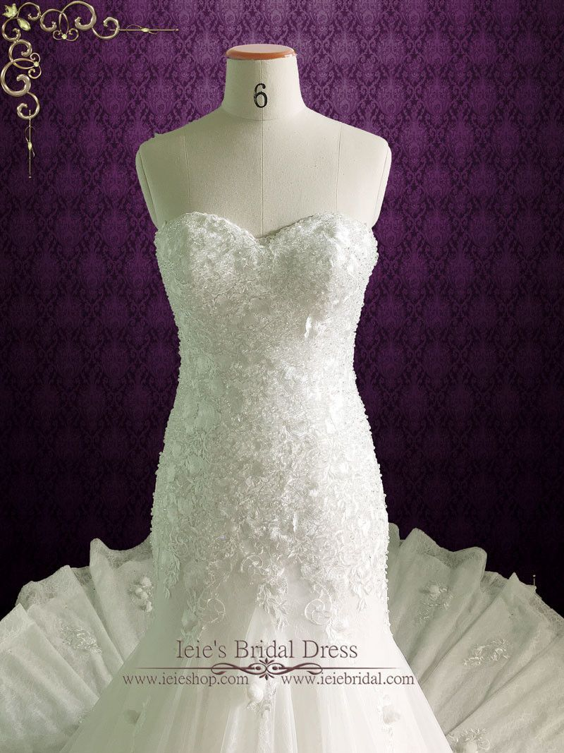 Strapless Fit And Flare Wedding Dress With Crystals Roses