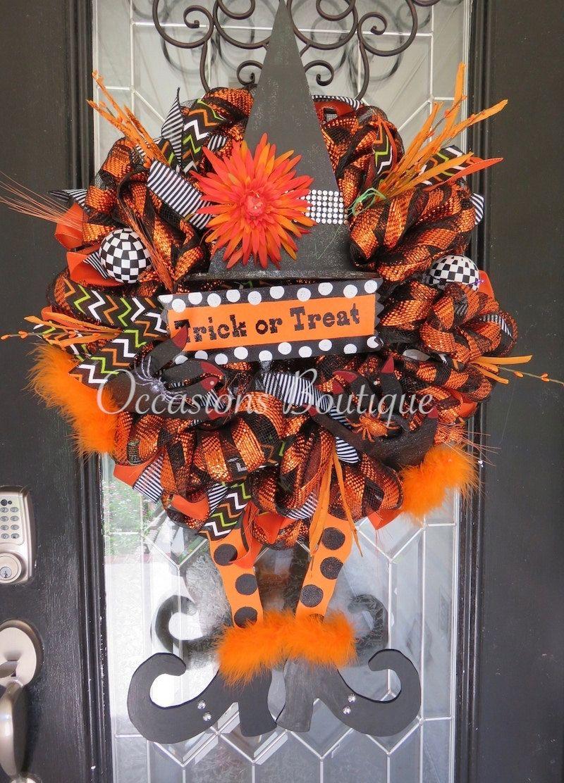Halloween Wreath, Witch Wreath, Fall Wreath, Door Hanger, Halloween - halloween front door decor
