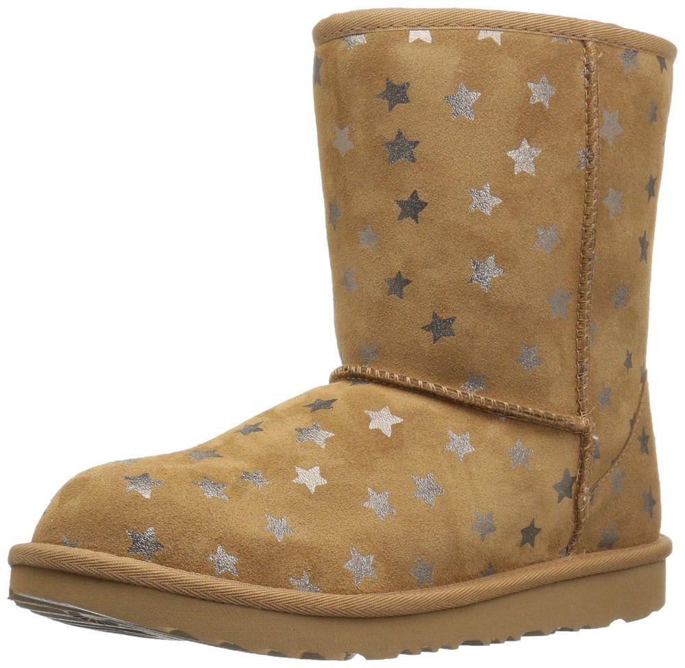79112ffc4c5 UGG Girls K Classic Short II Stars Pull-on Boot, Chestnut, 13 M US ...