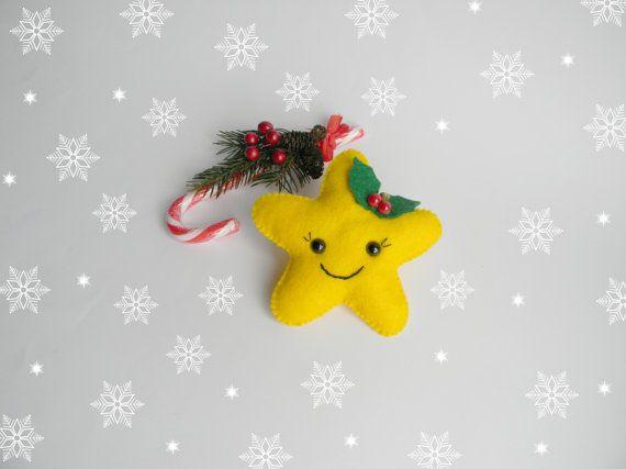 Felt Christmas ornament Felt Star Christmas by Rainbowsmileshop