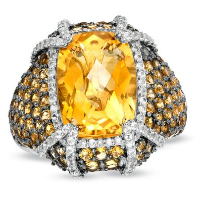 Zales Cushion-Cut Citrine and 1/10 CT. T.w. Diamond Frame Pendant in Sterling Silver R8mLWe