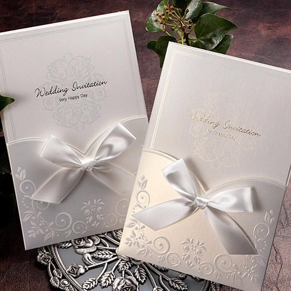 white ribbon pocket elegant wedding invitations