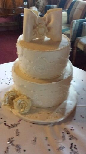 2nd wedding cake, similar to first but it's what the bride wanted
