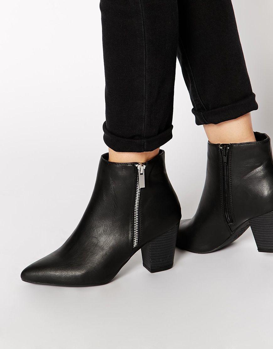 New Look Beastie Black Pointed Block Heel Ankle Boots - asos.com ...