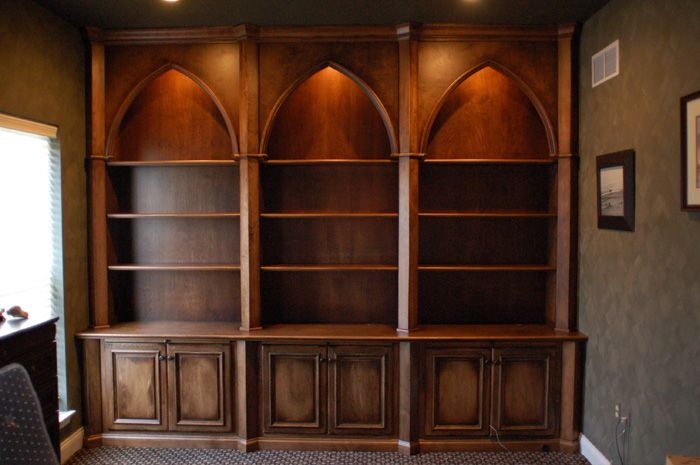 Gothic Style Custom Home Office   Artisan Custom Bookcases
