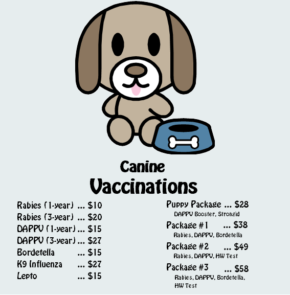 Prices Services Pet Shots Affordable Animal Clinic Dog Clinic Pet Clinic Dog Tags Military