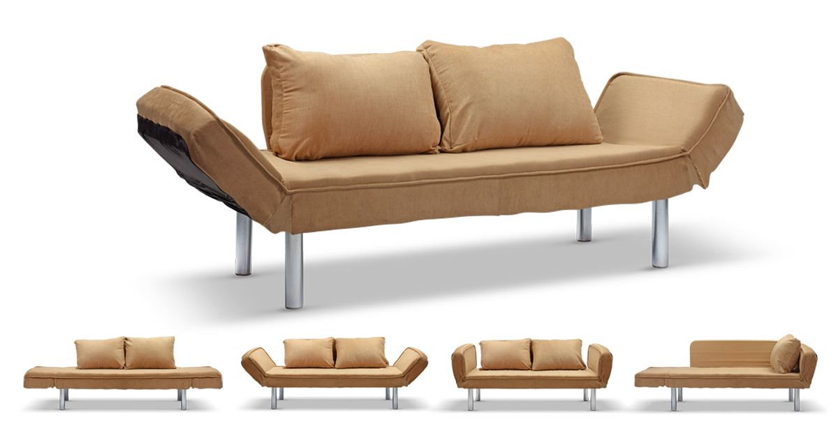 Modern 2 Seater Sofa Bed In Brown Color With Cushionulti Position Arm System All One