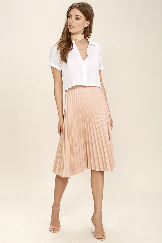 e2f206ee8 Leave them in awe in the Like a Phenomenon Blush Pink Pleated Midi Skirt!  Medium-weight woven fabric falls from a high-waist, into elegant accordion  pleats ...