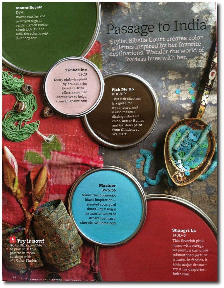 Sibella Court's color scheme, inspired by India, Better Homes & Gardens