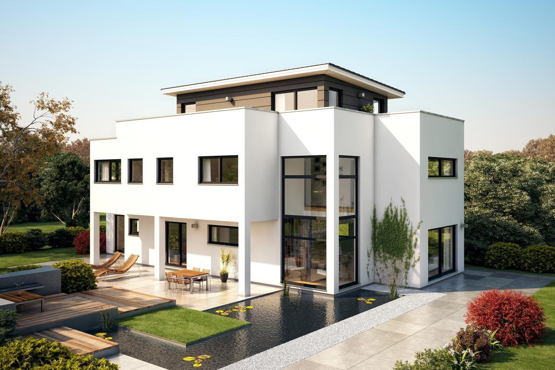 Fertighaus villa flaviano mit penthouse architektenhaus for Modernes haus dachterrasse