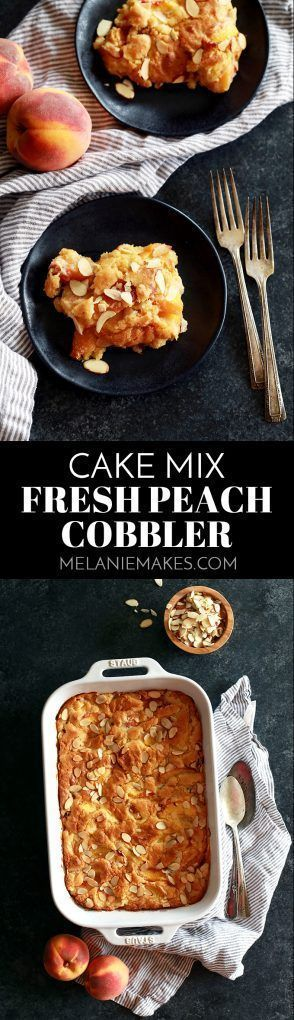 In just 15 minutes, this Cake Mix Fresh Peach Cobbler is ready for the oven.  Fresh peaches are bathed in brown sugar, almond extract, peach juice and butter before being stirred together with a yellow cake mix.  Vanilla ice cream or whipped cream is an absolute must to top this delicious dessert! #applecidercupcakeswithbrownsugar In just 15 minutes, this Cake Mix Fresh Peach Cobbler is ready for the oven.  Fresh peaches are bathed in brown sugar, almond extract, peach juice and butter before #peachcobblercheesecake