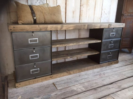 meubles tv industriel bois et m tal l 39 or du temps deco. Black Bedroom Furniture Sets. Home Design Ideas