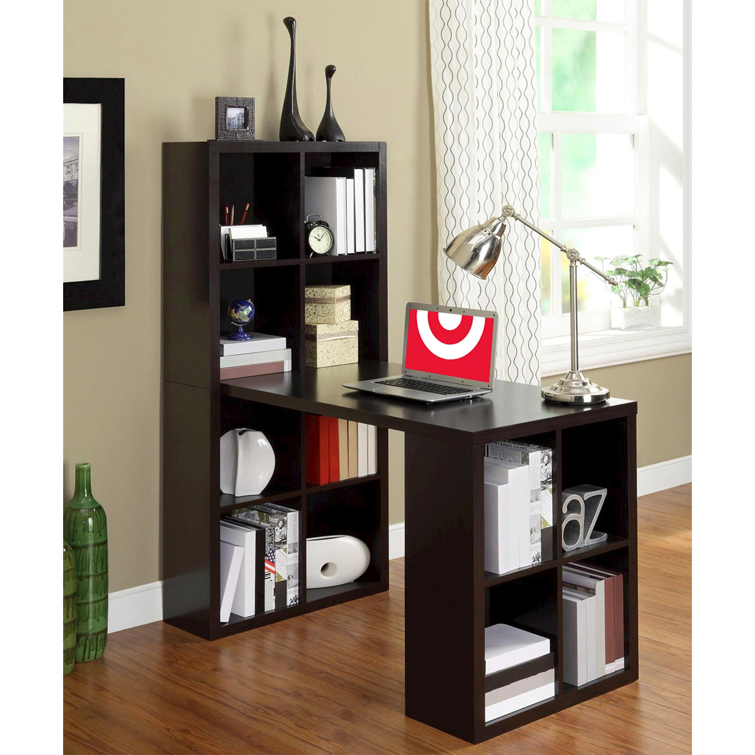 The ameriwood computer desk with shelves brown storage cubbies