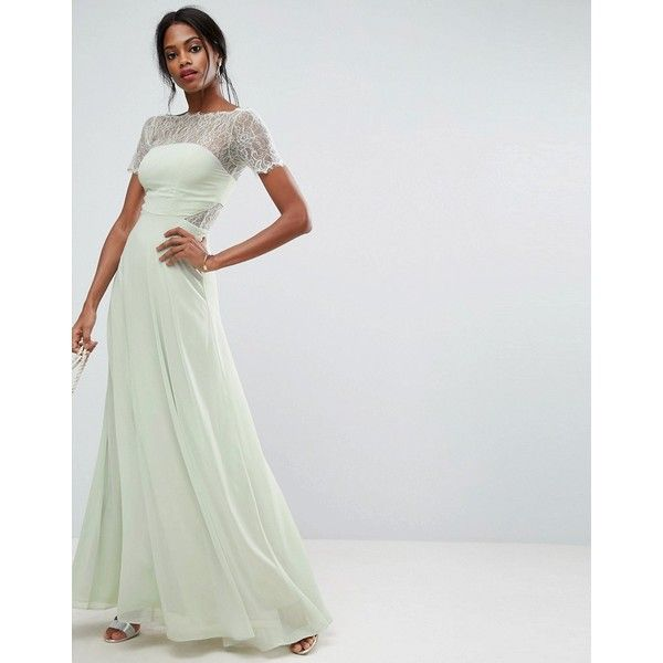 ASOS Lace Insert Panelled Maxi Dress ($110) ❤ liked on Polyvore ...