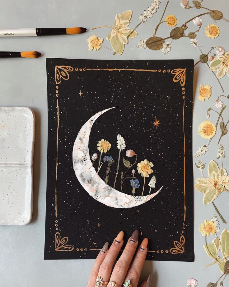 """EMBELLISHED PRINT: """"Blooming Crescent"""" watercolor + acrylic, pressed flowers + gold"""
