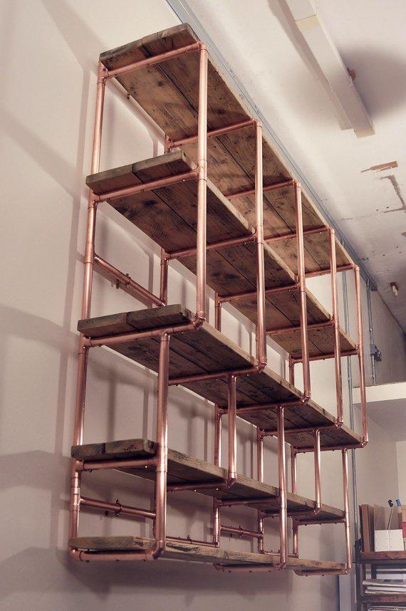 copper and wood wine shelf google search restaurant. Black Bedroom Furniture Sets. Home Design Ideas