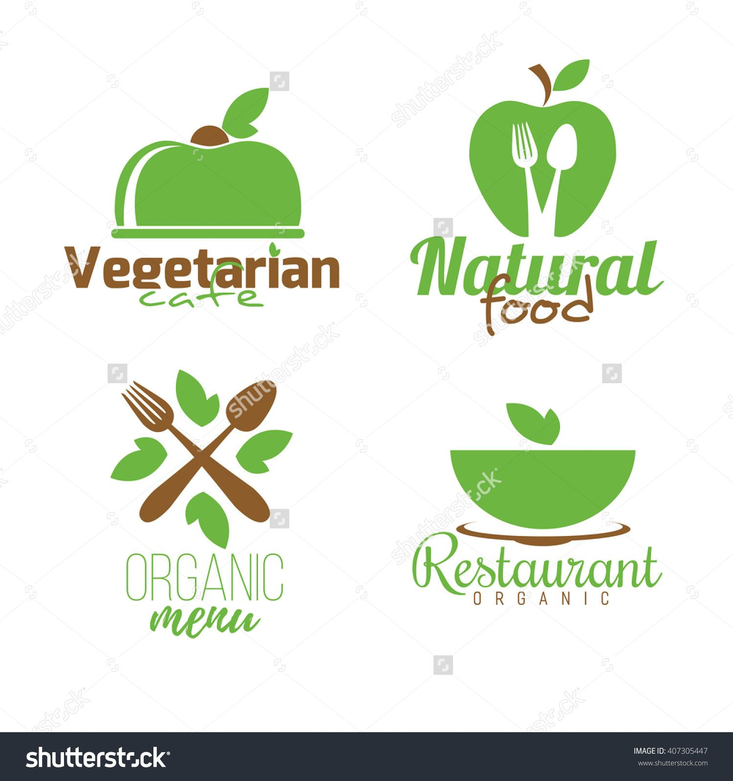 Vecteur clipart de main sur 201 cologie conscience image concept - Vector Set Of Abstract Logos Healthy Eating Vegetarian Cafe Organic Restaurant Natural Food