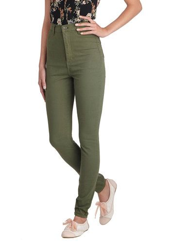 Gotta Jet Set Jeans in Moss - Cotton, Denim, Woven, Green, Solid, Pockets, Casual, Military, Skinny, High Waist, Variation, Fall