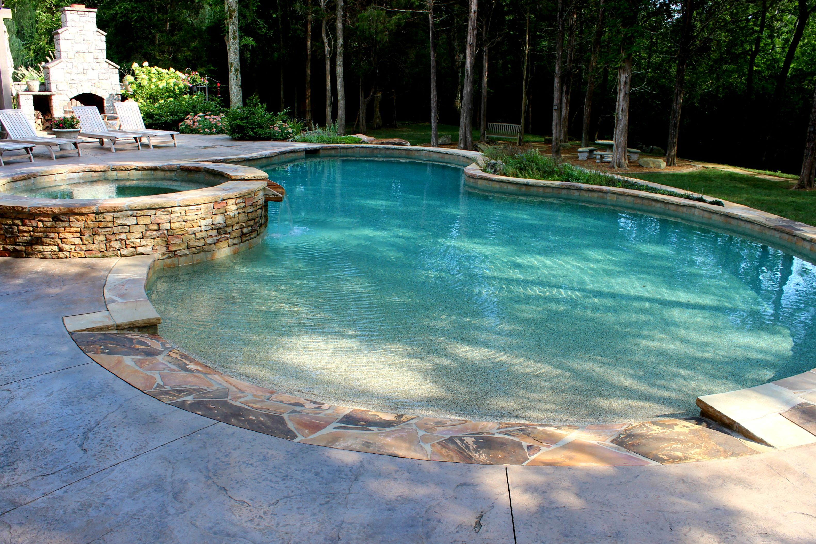 Beautiful Gunite Concrete Pool With Beach Entry And Stone Spa Beach Entry Pool Luxury Pools Backyard Swimming Pool Lights