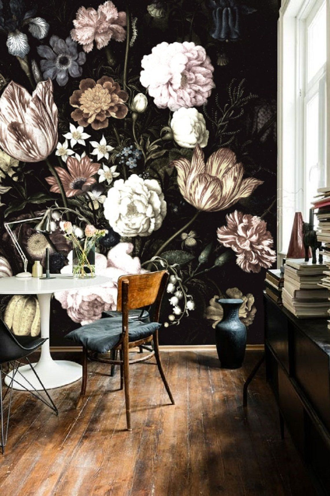 Dark Floral Mural Dutch Dark Vintage Floral Art Removable Etsy