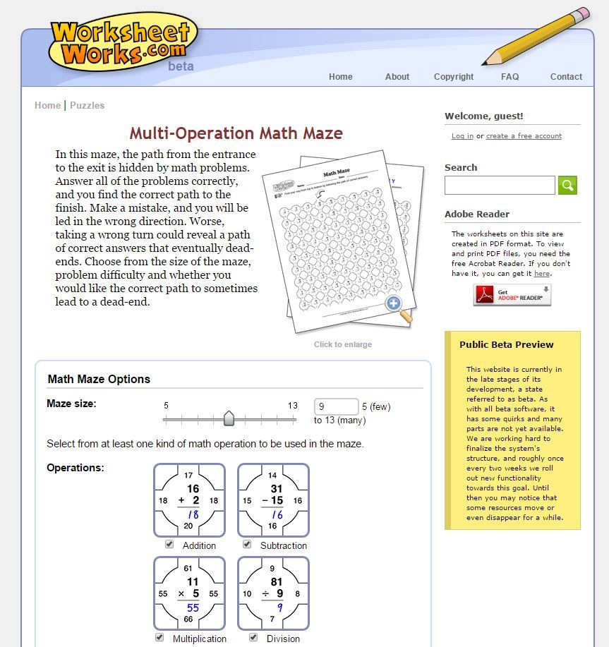 worksheet Math Maze Worksheets customizable multi operation math maze from worksheets com http httpwww