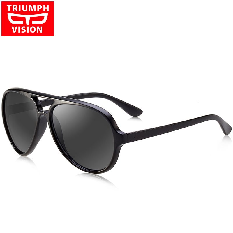 5223cd6306c TRIUMPH VISION Black Aviator Sunglasses Men 2017 Brand Shades Oculos Male  Original Pilot Sun Glasses For