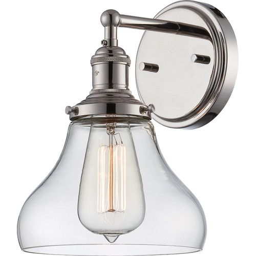 Nuvo Lighting Vintage Single Light Tall Wall Sconce With Clear Gl Polished Nickel Indoor Sconces Bathroom