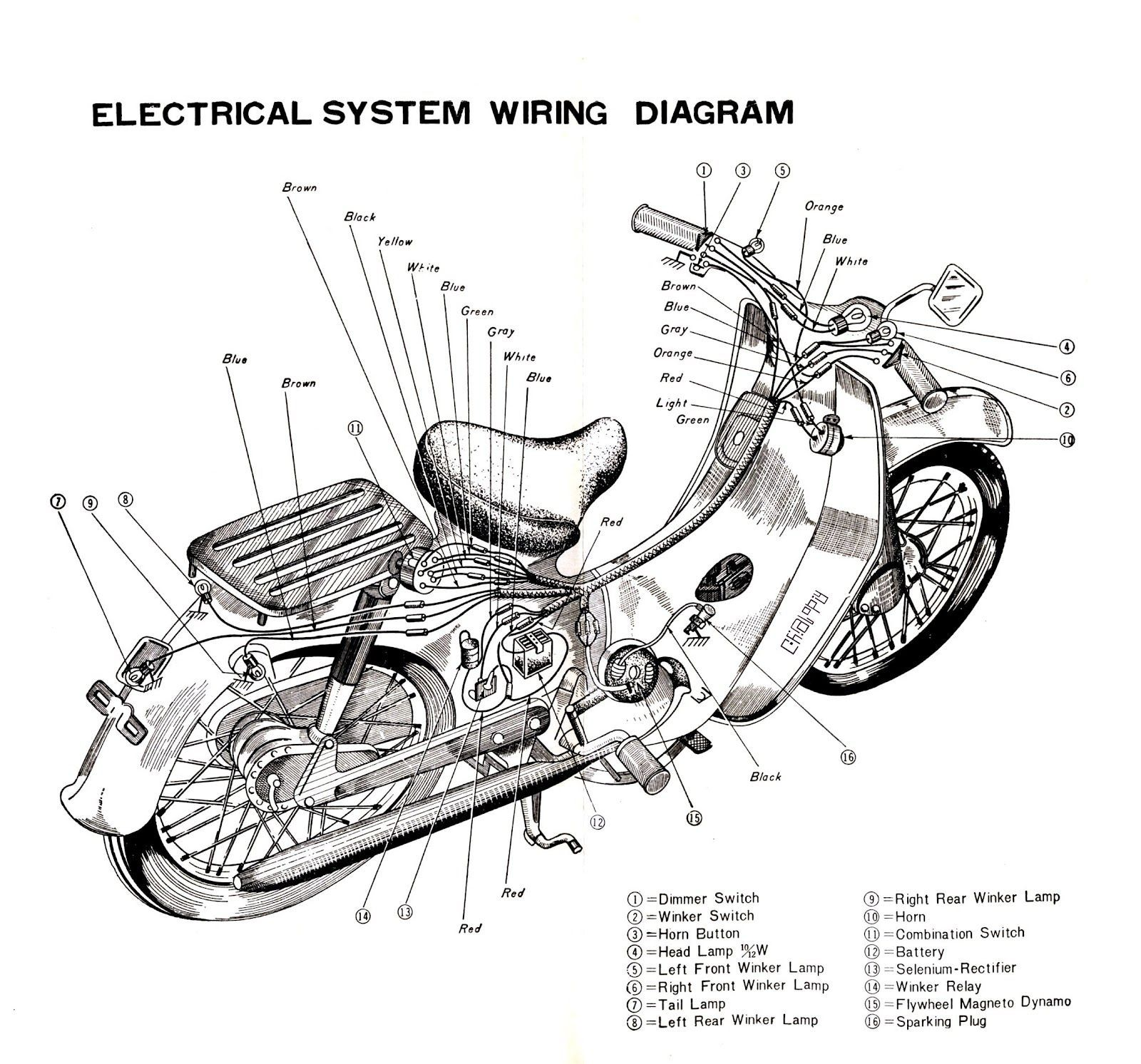 image result for electrical system wiring diagram honda c70 honda bycke diagram honda [ 1600 x 1493 Pixel ]