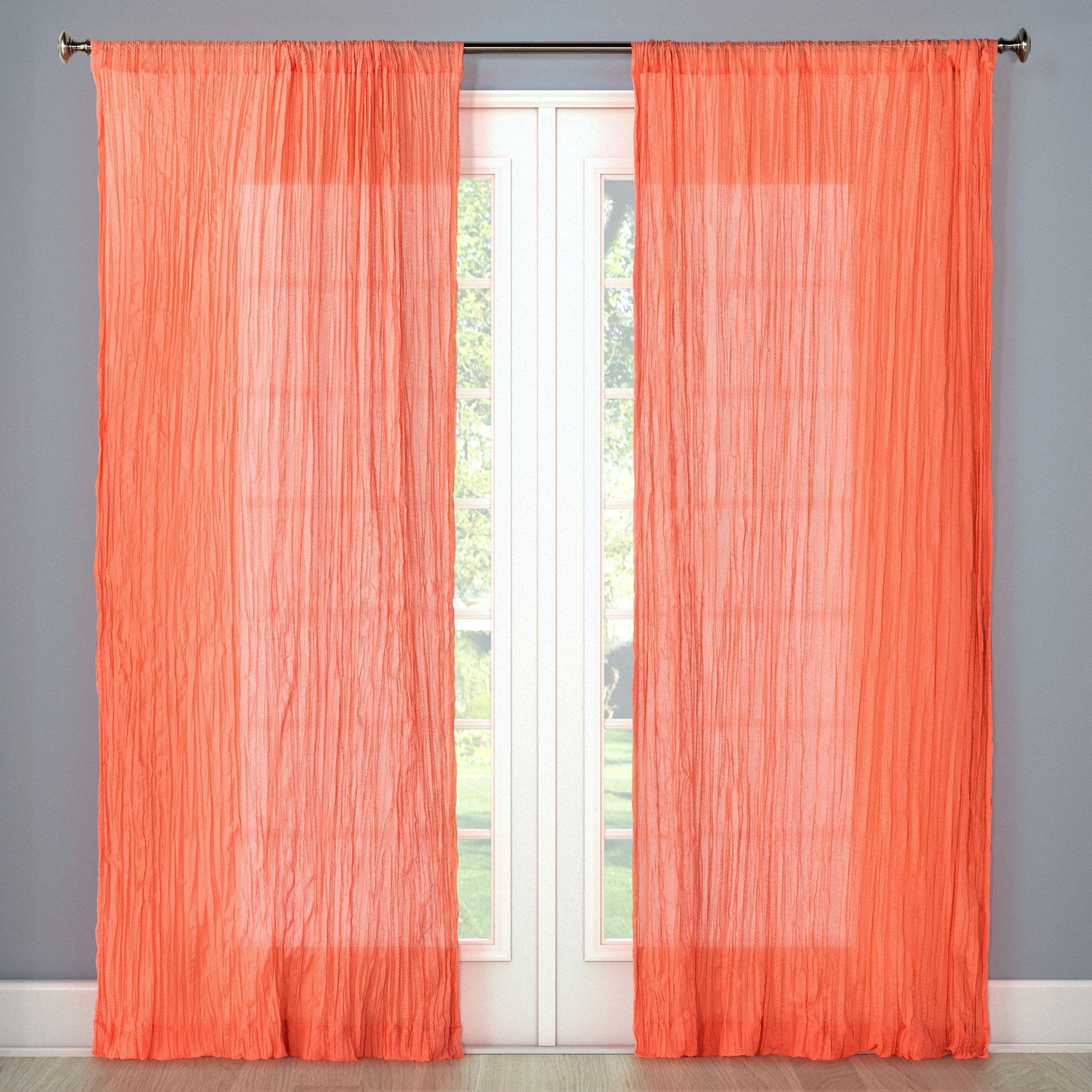 Crushed sheer voile curtain panel coral pink
