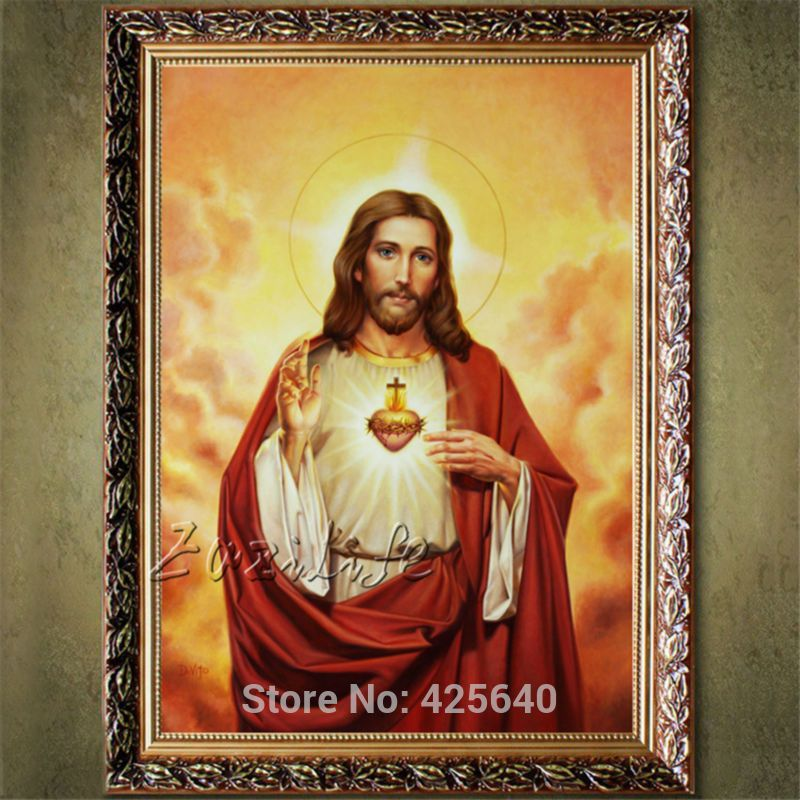 Home decoration to spray painting the sacred heart of Jesus Christ Jesus heart print Giclee print on canvas art deco painting 1