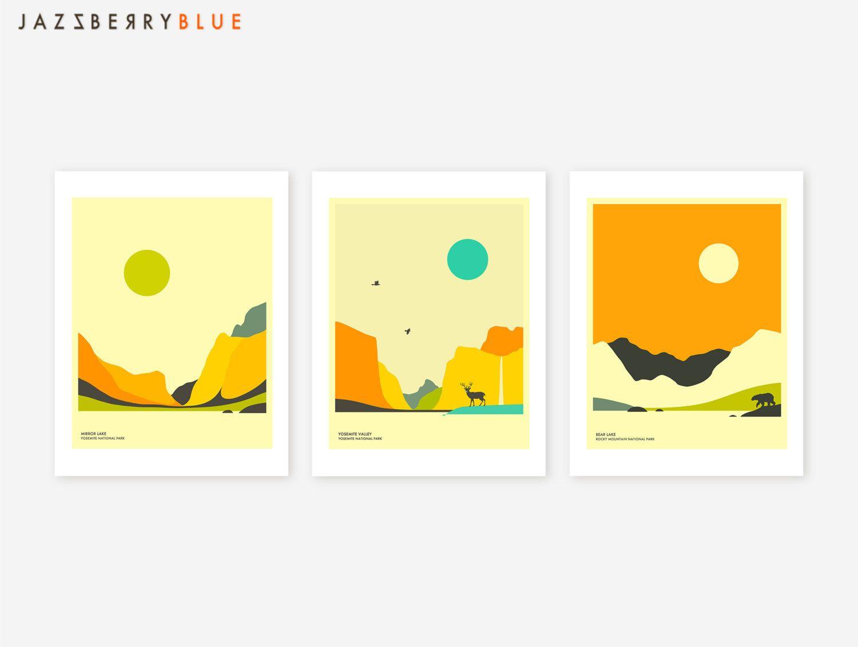 Set of 3 NATIONAL PARK Giclée Fine Art Prints, Modern, Minimal Wall ...
