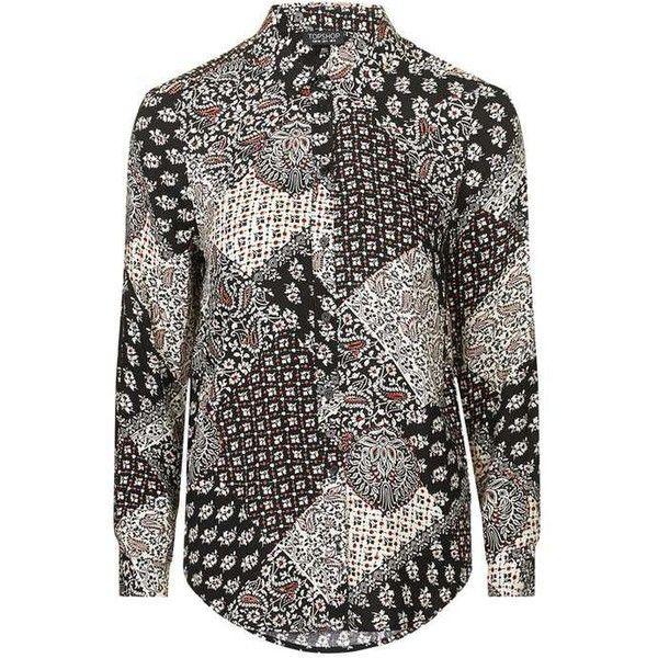 TopShop Tabriz Print Shirt ($43) ❤ liked on Polyvore featuring tops, long sleeve shirts, viscose tops, rayon tops, shirt tops and topshop