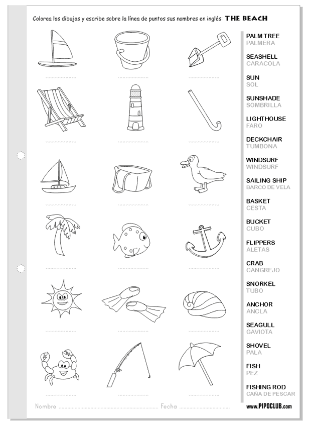 Vocabulario de la playa en ingl s The beach English ingl s – English to Spanish Worksheets