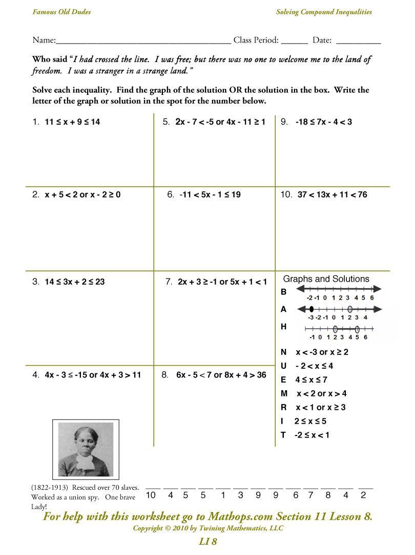 Compound Inequalities Compound Inequalities Inequality Word Problem Worksheets
