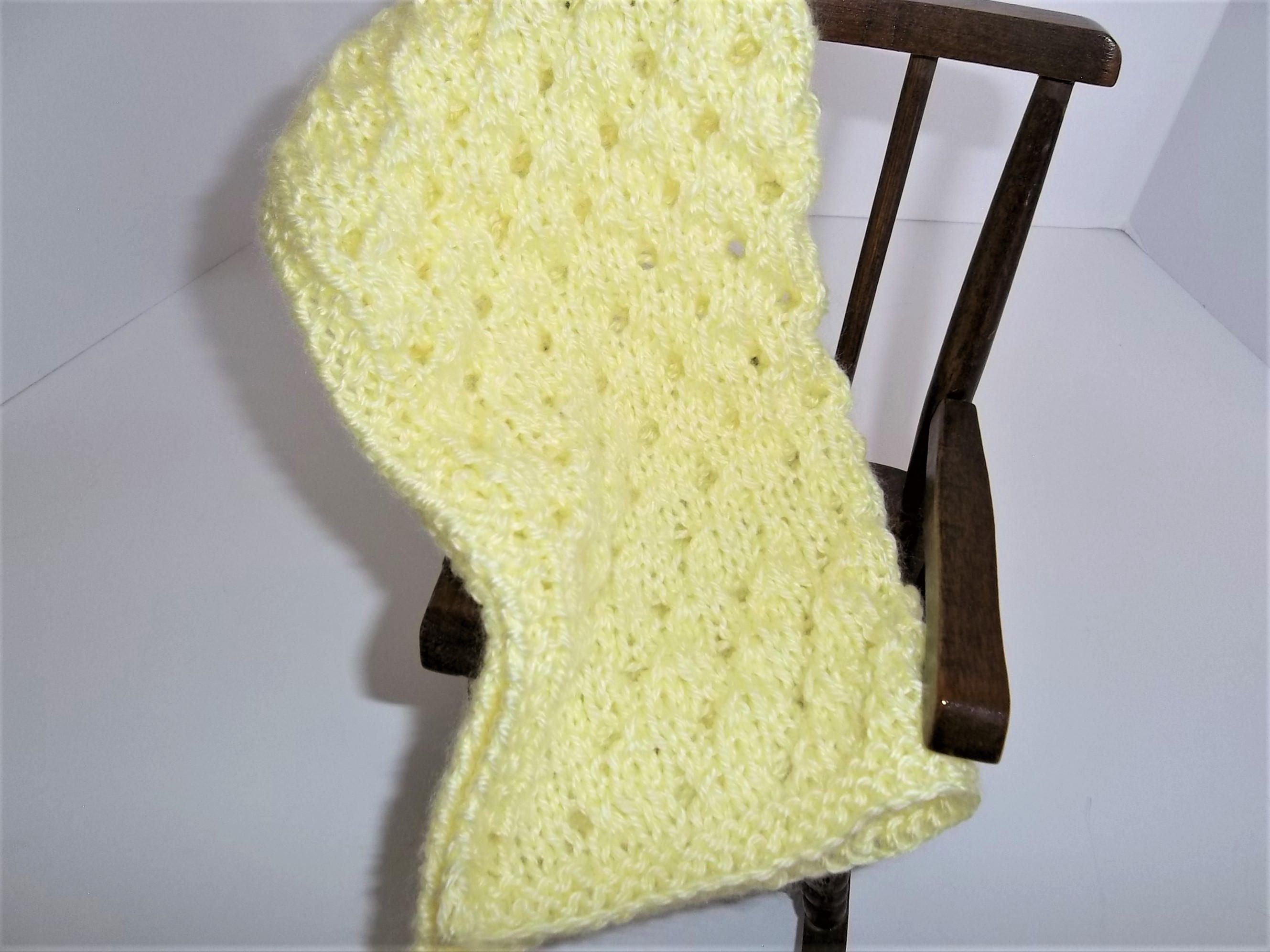 Yellow Knit Doll Blanket Lemon Yellow Light Yellow Doll Blanket