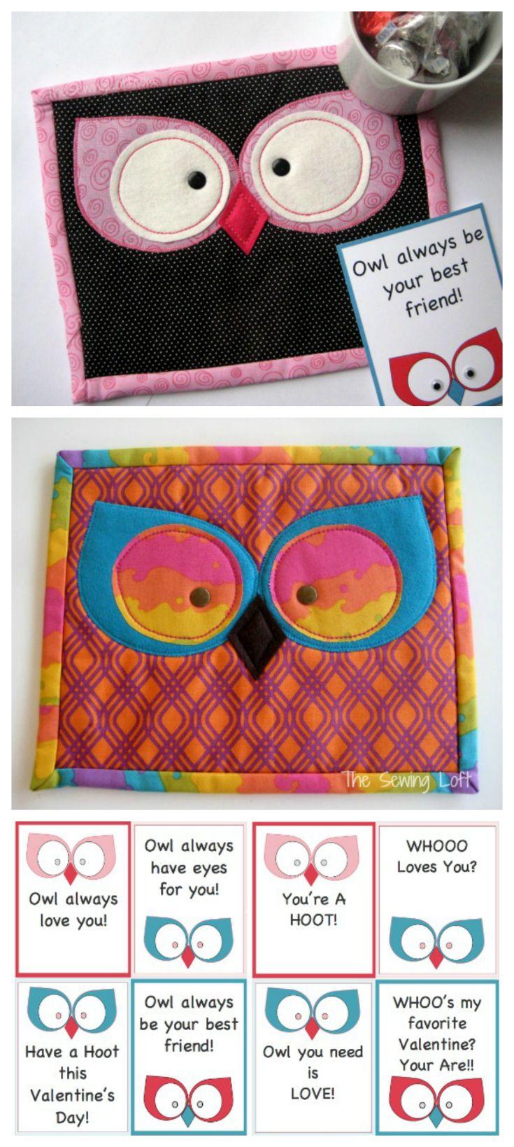 Free Valentine\'s Day Printables & Owl Mug Rug   Topflappen, Kleidung ...