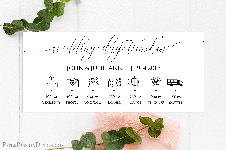 Wedding Day Timeline Printable Wedding Day Schedule