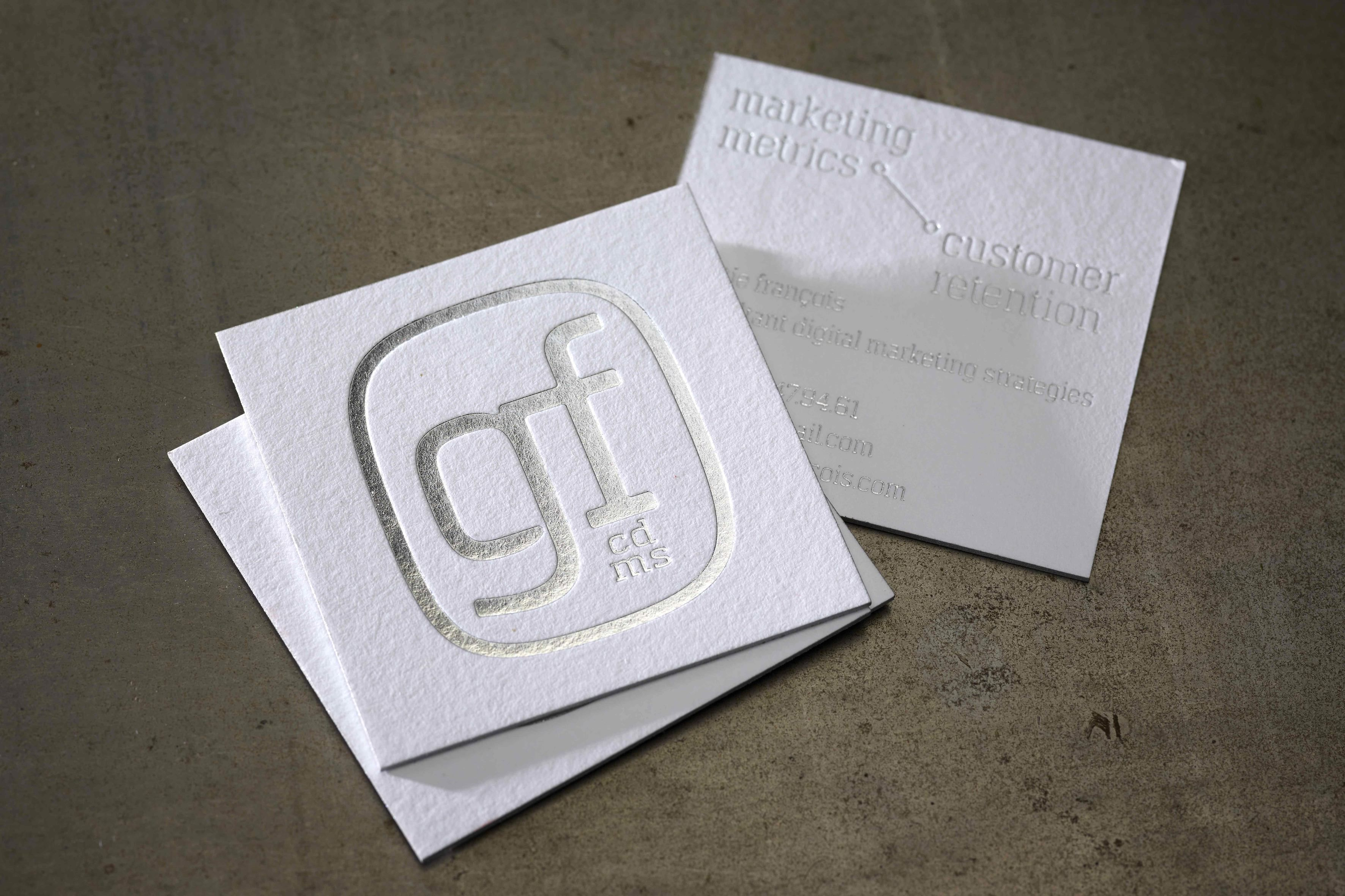 business cards gf hotfoil silver on macho george paper edge