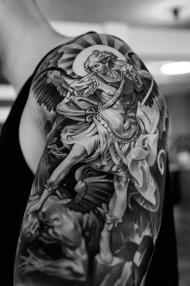 a look at some black and grey tattoos, rose tattoo, religious tattoos, greek statue tattoos, sleeve tattoos and skull tattoos. -   24 religious tattoo sleeve ideas
