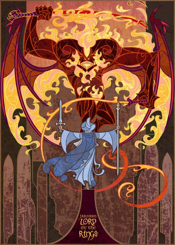 """You cannot pass by breathing2004.deviantart.com on @deviantART - Stained glass style illustration for """"Lord of the Rings"""": Gandalf faces the Balrog in the Mines of Moria."""