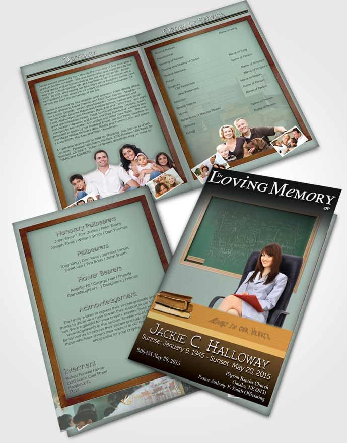 Bifold Order Of Service Obituary Template Brochure Golden Teacher