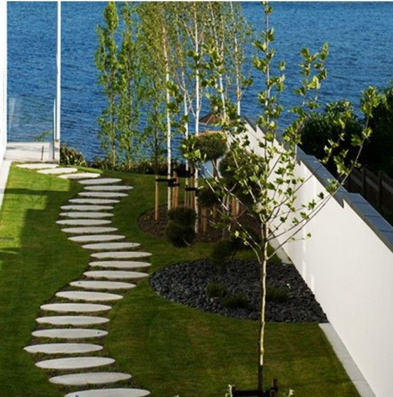 Pave walkway   Modern landscaping, Contemporary garden ...