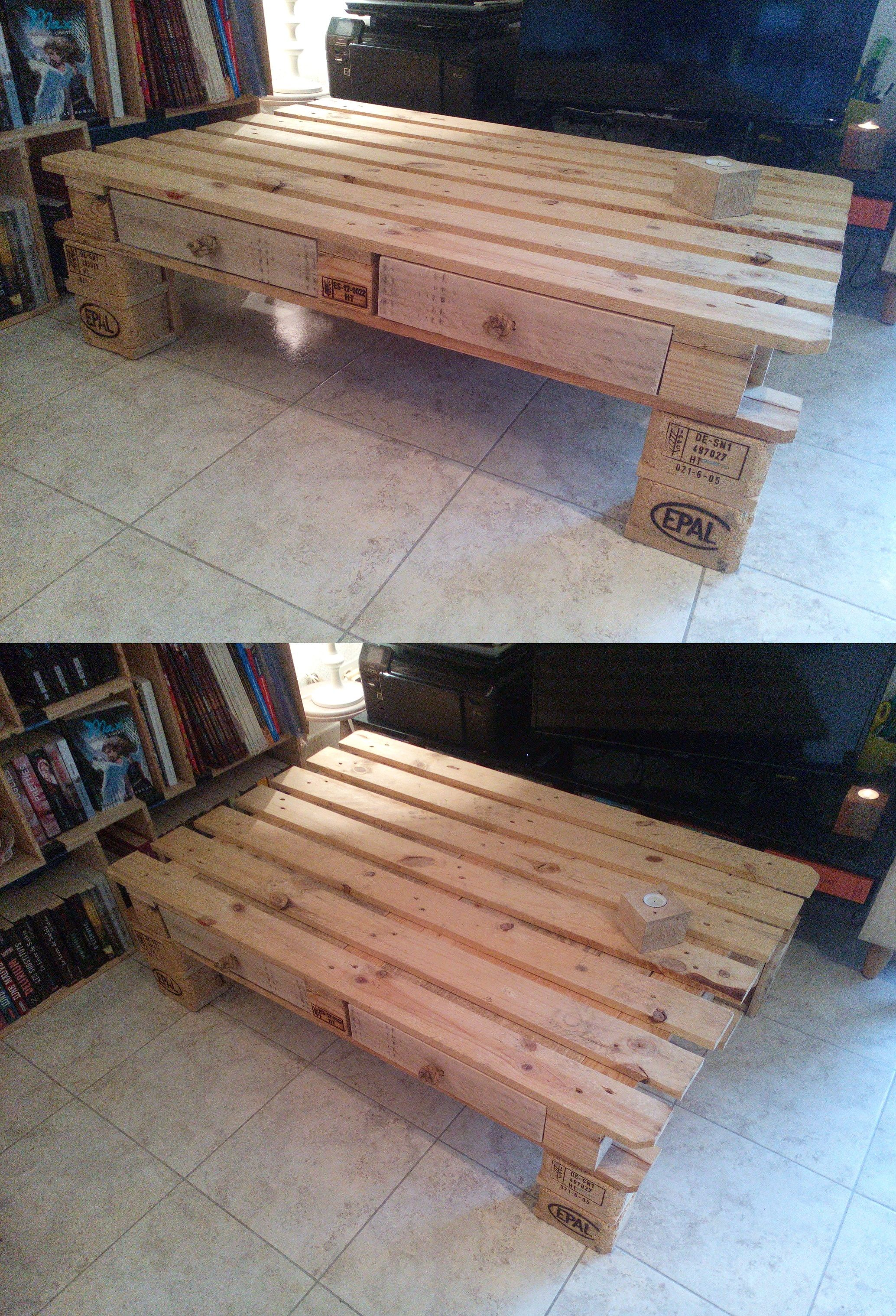table basse DIY, faite maison, interstice bouchés (possibilité d ...