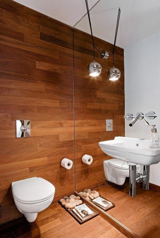 Badideen Fliesen Holzoptik Spiegelwand Waschbecken Wand Armatur