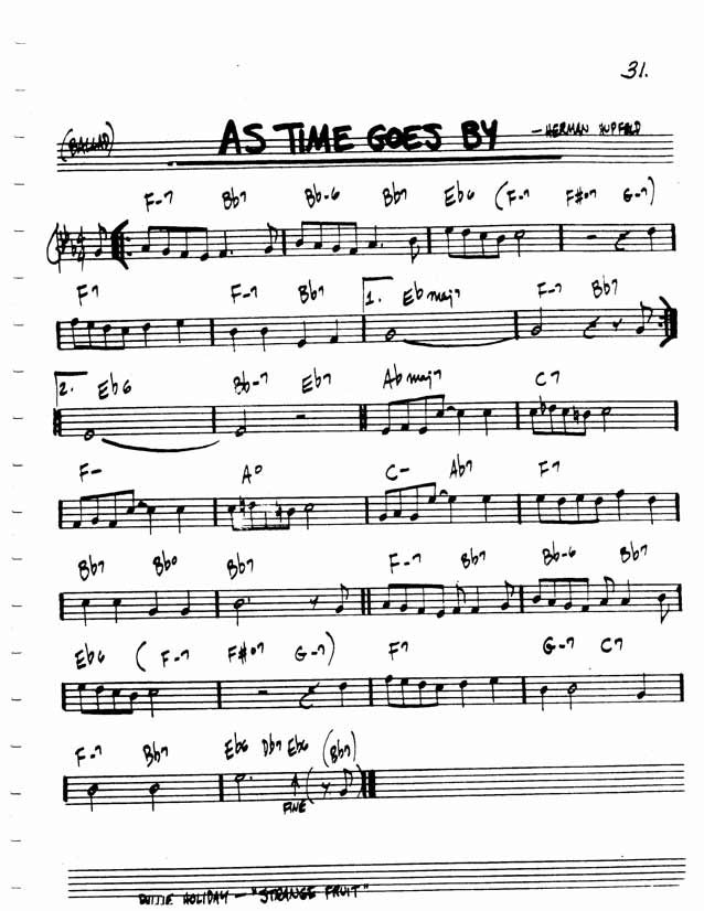 Jazz Standard Realbook Chart As Time Goes By Music Pinterest