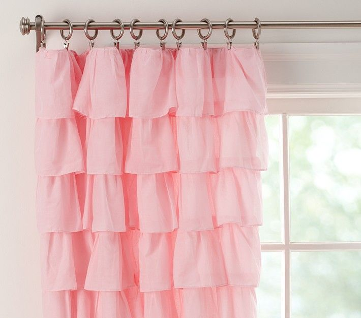 Baby Nursery Curtains Pink Curtains Kids Curtains Pair: Tiered Ruffle Sheer