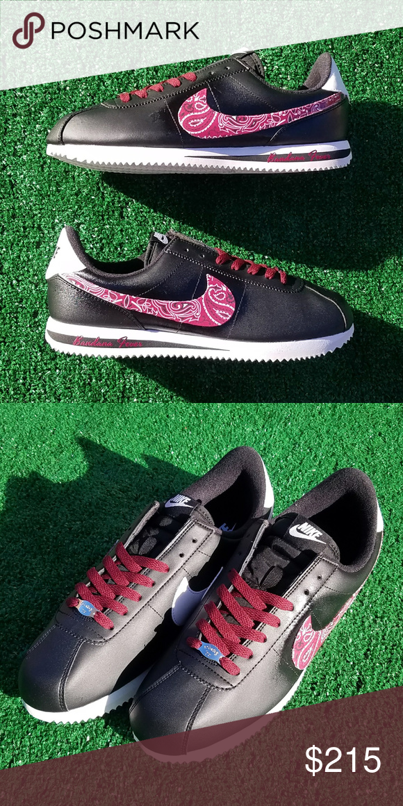 a1da2b6ca1847 ... coupon code for customized nike sneakers mens black authentic nike  cortez sneakers featuring a maroon bandana