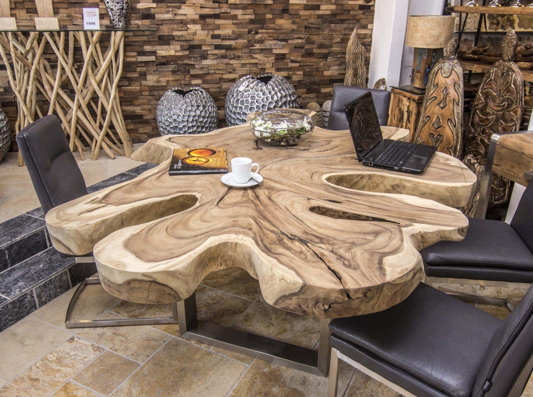 Suar Baumstammtisch Esstisch Wood slab table, Esstisch